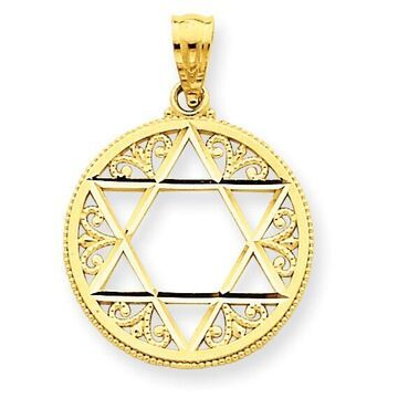 14K Yellow Gold Filigree Star of David Pendant with 18-inch Cable Rope Chain by Versil (18 Inch - Yellow)