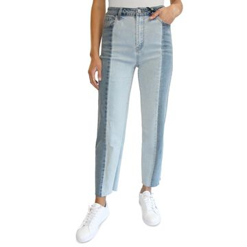 Almost Famous Juniors' Two-Tone High-Rise Dad Jeans