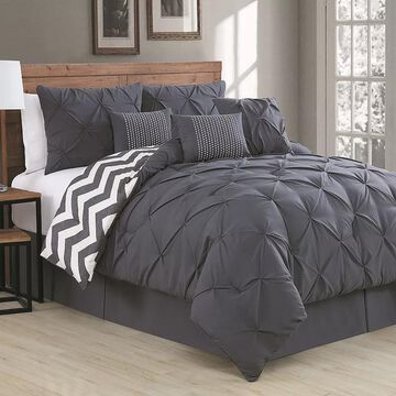 Avondale Manor Ella Pinch Pleat Comforter Set, Grey, Twin