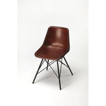 Butler Inland Brown Leather Side Chair