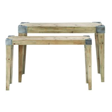 Set of 2 Industrial Rectangular Wooden Console Tables by Studio 350