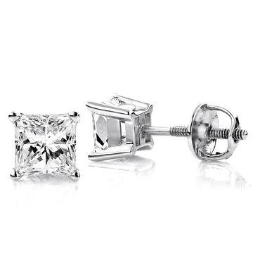 Luxurman 14k Gold Diamond Princess Earrings