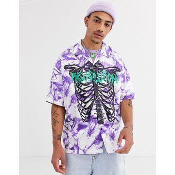 Jaded London oversized short sleeve shirt in purple tie dye with ribcage print