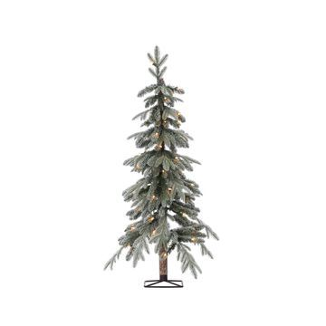 Sterling 4Ft. Pre-Lit Flocked Natural Cut Alpine Tree with 50 Clear Lights