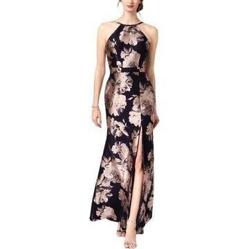Xscape Womens Jacquard Halter Evening Dress