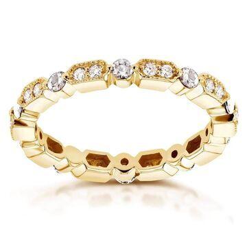 Annello by Kobelli 14k Yellow Gold 1/2ct TDW Diamond Milgrain Pattern Eternity Ring (6.5)