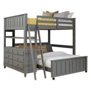 NE Kids Lake House Full Loft Bed with Full Lower Bed in Stone