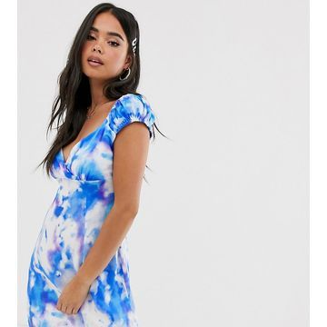 Reclaimed Vintage inspired tea wrap front dress in tie dye print-Multi