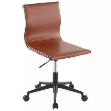 LumiSource Mirage Faux Leather Task Chair in Black/Camel