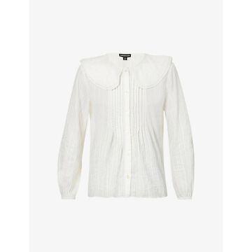 Whistles Womens Cream Darcie Oversized-collar Cotton top 14