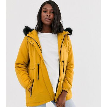 Mamalicious Maternity parka with faux fur hood in mustard-Yellow