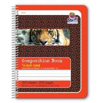 Pacon Red Tiger Primary Spiral Composition Book, 12ct.