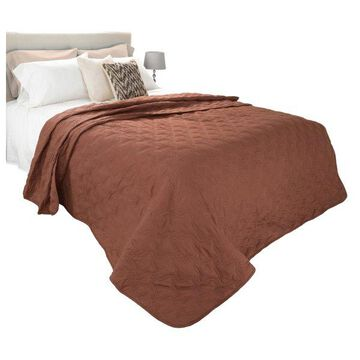 Solid Color Quilt by Lavish Home Twin, Chocolate