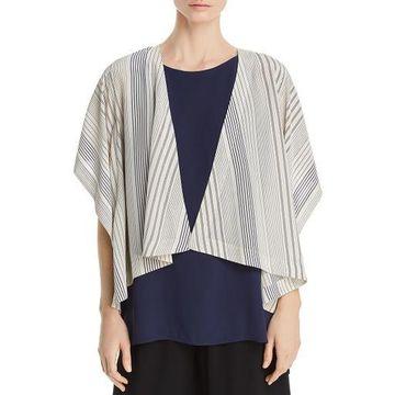 Eileen Fisher Womens Silk Striped Kimono