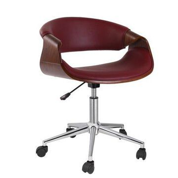 Porthos Home Adjustable Stool With 360-Degree Swivel, PVC Upholstery And Wheels (Mid-Century Style, Various Colors)