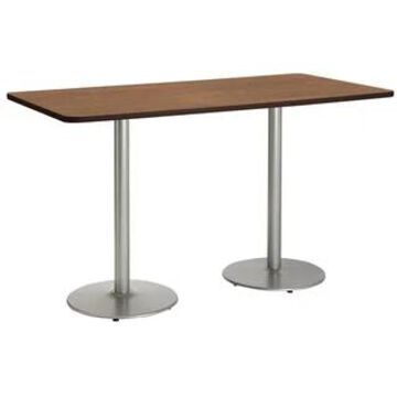 """KFI Mode Multipurpose Table, Round Silver Base, Bistro Height (42"""" x 72"""" top - river cherry)"""