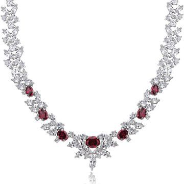 Icz Stonez Sterling Silver 66 7/8ct TGW Red and White Cubic Zirconia Wreath Necklace - Silver/Red