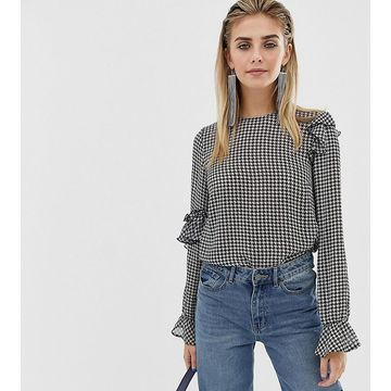 Reclaimed Vintage inspired top in houndstooth with ruffle detail