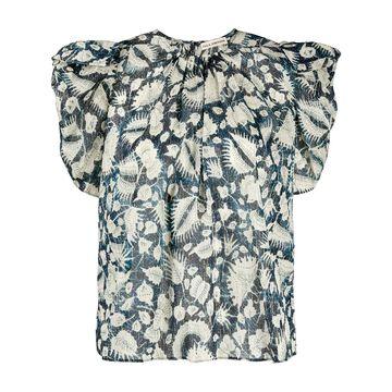 foliage print ruffle sleeve blouse