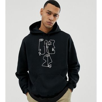 Reclaimed Vintage inspired hoodie with face print in black