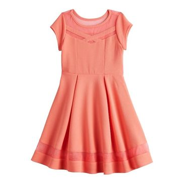 Girls 7-16 Bonnie Jean Inset Mesh Textured Skater Dress