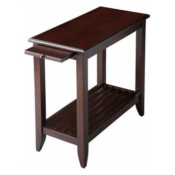 Butler Transitional Chairside Table, Dark Brown