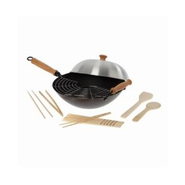 """Honey Can Do Joyce Chen Professional Series 14"""" Carbon Steel Nonstick Wok Set with Lid and Maple Handles, 10 Pieces"""