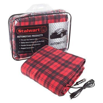 Electric Heater Car Blanket, 12 Volt by Stalwart, Red and Black