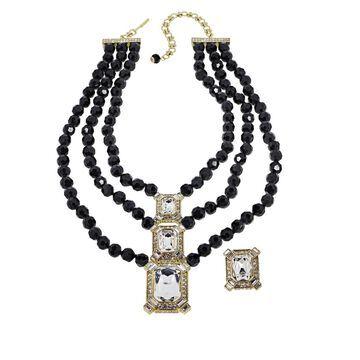 Heidi Daus Estate Splendor Beaded Necklace and Earring Set