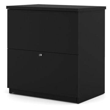 Bestar 2 Drawer Lateral Wood Lockable Filing Cabinet, Black