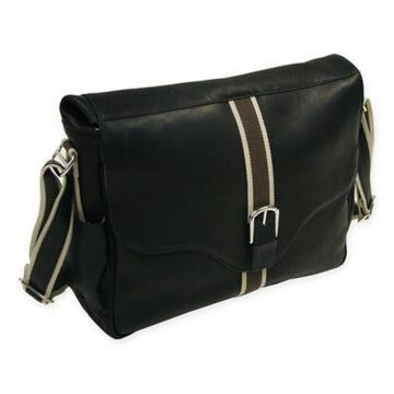 Piel Leather European Messenger Bag in Black