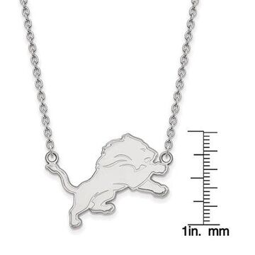 LogoArt Sterling Silver Detroit Lions Large Pendant w/ Necklace