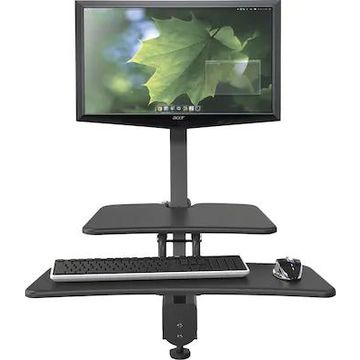 Balt Up-Rite Desk Mounted Sit/Stand Workstation, Single Monitor, Cherry/Black, 42H x 27.63W x 30D | Quill