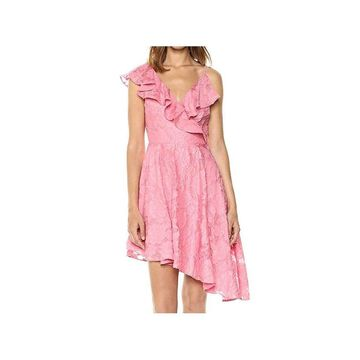 Keepsake Womens Dress Pink Size Small S Sheath Ruffled Asymmetrical
