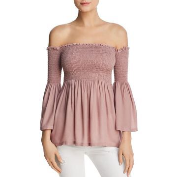 Chaser Womens Smocked Off-The-Shoulder Blouse