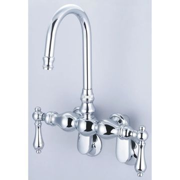 Water Creation Vintage Classic Chrome Adjustable Spread Wall Mount Tub Faucet With Gooseneck Spout and Swivel Wall Connector