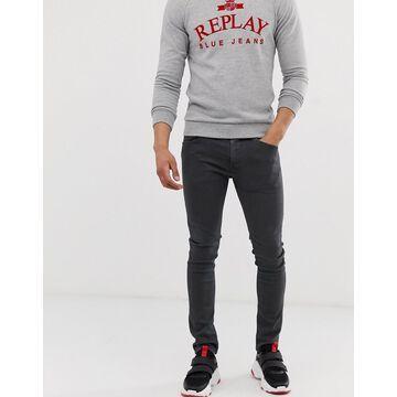 Replay Jondrill Hyperflex stretch skinny fit jeans in charcoal gray