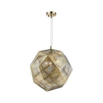 Worldwide Lighting Geometrics 3-Light Champagne Gold Tone Finish Stainless Steel Pendant Light
