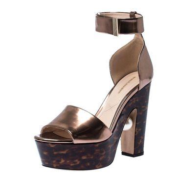 Nicholas Kirkwood Bronze/Brown Patent Leather Pearl Platform Sandals Size 40