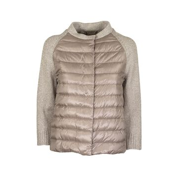 Herno Down Jacket Jacket With Jersey And Lurex Sleeves