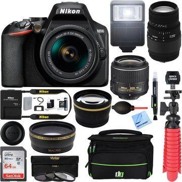 Nikon D3500 DSLR Black Camera + AF-P DX 18-55mm+ 70-300mm SLD DG Lens Accessory Bundle