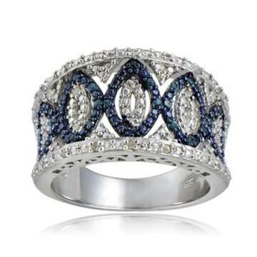 DB Designs Sterling Silver 1/4ct TDW Blue/Black and White Diamond Ring (Blue Diamond Size 9)