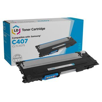 Compatible Samsung CLT-C407S Cyan Laser Toner Cartridge for CLP and CLX Printer Series