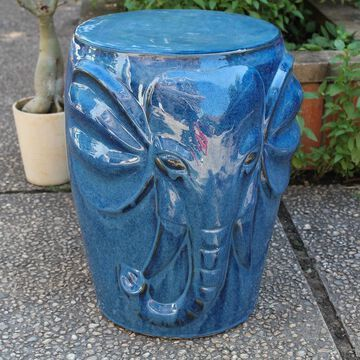 International Caravan Wild Elephant Drum Ceramic Garden Stool
