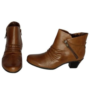 Earth Origins Sz 6.5 Pegasus Side Zippered Brown Ankle Boots
