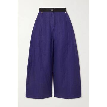 Loewe - Two-tone Linen-blend Drill Wide-leg Culottes - Blue