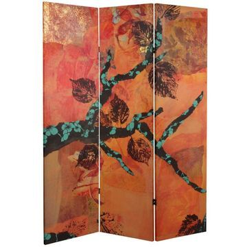 Oriental Furniture 5' Rich Autumn Canvas Screen