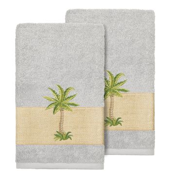 Authentic Hotel and Spa Turkish Cotton Palm Tree Embroidered Grey Hand Towels (Set of 2)