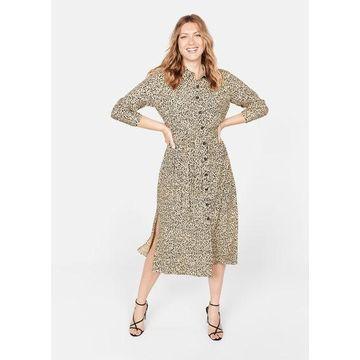 Violeta BY MANGO - Long shirt dress beige - 16 - Plus sizes