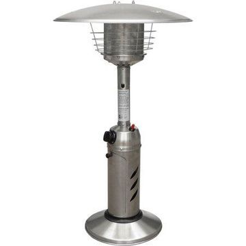 Hanover Mini Umbrella Tabletop Propane Patio Heater in Stainless Steel